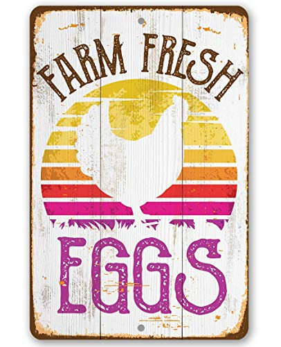 Chicken Coop Sign - Farm Fresh Eggs - Durable Metal Sign - Use Indoor/Outdoor - Perfect Poultry Decor and Gift Under $20 (8' x 12')
