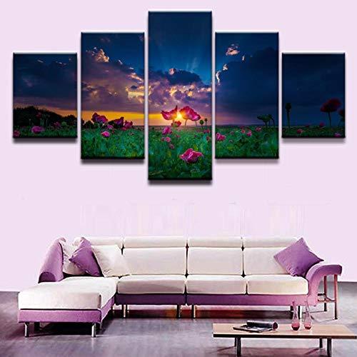 Wslin Lienzo Pintura al óleo Decoración del hogar Arte de la Pared Imagen 5 Panel Flores Rosadas en la luz Solar Natural para la Sala de Estar Imprimir póster