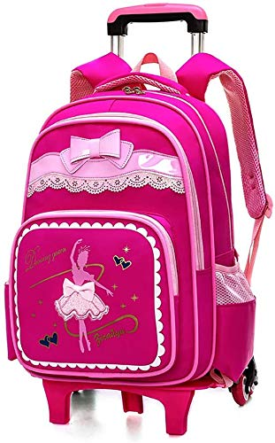 ZXHFDC 18 Inch Child Nylon Rolling Backpack, Travel Wheeled Laptop Backpack For Women Men, Carry On Trolley Luggage Suitcase Business Bag, Fit 15.6 Inch Laptop