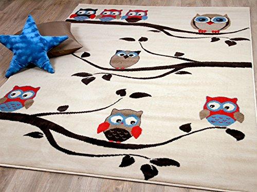TrendLine Kinderteppich Eulen Creme in 4 Größen, Größe:160x225 cm