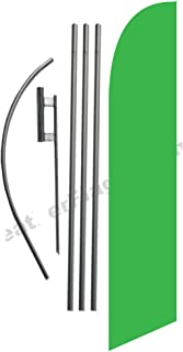 Solid Light Green Color Feather Banner Swooper Flag Set with 15 Foot Flag Pole Kit and Ground Stake
