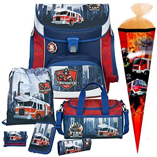 Feuerwehr Schulranzen-Set 7tlg, Scooli Undercover, Campus Fit mit Sporttasche und Schultüte