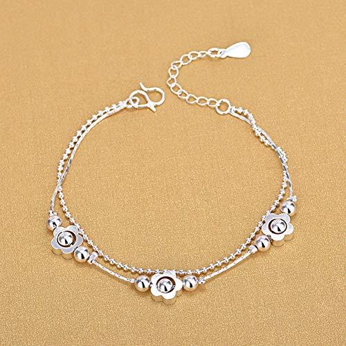 WOVP Pulsera Doble Capa De La Cadena De La Bola Lucky Clover Charm Bracelet para Las Mujeres 925 Joyería De Plata Esterlina