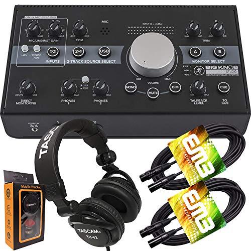 Mackie Big Knob 3x2 Studio Monitor Controller + Pro Kopfhörer mit Paar EMB XLR-Kabel und Schwerkraft-Magnet-Halterung Bundle (BNS+TH02 (2)+M)