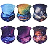 6 Pack Neck Gaiter Face Mask: Washable Reusable Bandana Gaiter Mask for Women Men Breathable Gator Mask Face Gaiter Cover Headwear Protect from UV Dust,Running,Sports,Yoga,Outdoor,Galaxy