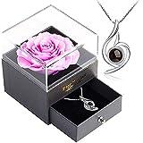 バレンタインギフト-LalunaプリザーブドフラワーのジュエリーBOX、創意ギフトボックス-S925レディース ネックレス、ピンクばら 薔薇 造花 プレゼント ギフト 石鹼花 石鹼フラワー 贈り物 ギフト、誕生日 記念日 ホワイトデー 母の日 七夕 教師日に ブライダルジュエリーに最適なギフト、に女性への贈り物として の人気アクセサリーです(ピンクばら)