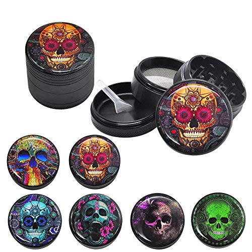 Spespo Skull Pattern Aluminium Alloy Spice Grinder for Dry Herb and Tobacco 4 Parts 2' Black, Pattern Randomly