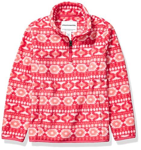 Amazon Essentials Girl's Quarter-Zip Polar Fleece Jacket, Pink Geo, Medium