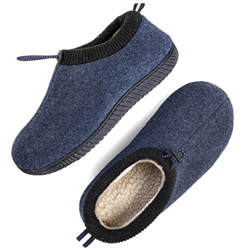 ULTRAIDEAS Men's Cozy Memory Foam Woolen Slippers with Elasticated Collar, Warm Closed Back House Shoes with Indoor Outdoor Rubber Sole (Navy Blue, Size 12)