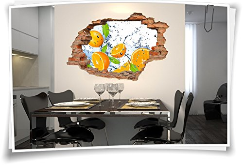 Medianlux 3D muurdoorbraak muurschildering muursticker sticker fruit ananas sap keuken oranje