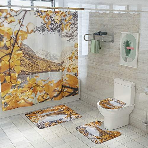 Aimrio Badewanne Vorhang Set, Vorh?nge In Bad 180x180 Baum Insel Badematte f¨¹r Badewanne 45x75cm, Toiletten Teppich Vintage, Toilettensitzabdeckung Waschbar Gelb