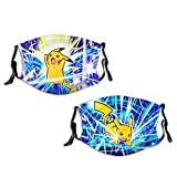 Cute Face Cover Adult Reusable Face Protective Covers Pika-chu Face Mask Dust Proof Mouth Cover For Men Women Kids 2 Pieces
