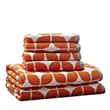 Lita Cotton Bathroom Towels , Jacquard Highly Absorbent Bath Towel Set , 6-Piece Include 2 Bath Towels & 4 Hand Towels ,  Orange Grey
