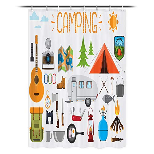 JAWO RV Camping Shower Curtain, Camping Objects Tent Trailer Backpack Guitar Shower Curtain for Camper Trailer Camping Bathroom, Stall Shower Curtain with Hooks Set 47x64inch