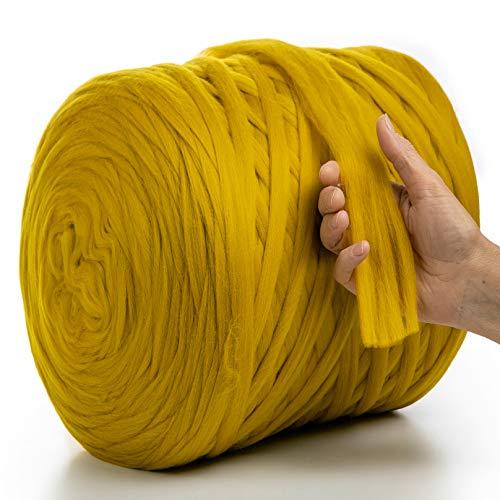 MeriWoolArt 100% lana de merino para punto y ganchillo con hilo de 2 cm de grosor, lana de merino gruesa para bufanda, manta y almohada XXL (tabaco, 100 g)