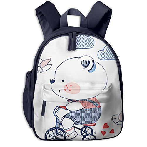 Mochilas Infantiles, Bolsa Mochila Niño Mochila Bebe Guarderia Mochila Escolar con Triciclo de Bicicleta Bear Riding para Niños De 3 A 6 Años De Edad