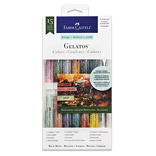 Faber-Castell Gelatos Colors Set, Translucents - Water Soluble Pigment Crayons - 15 Translucent Colors …