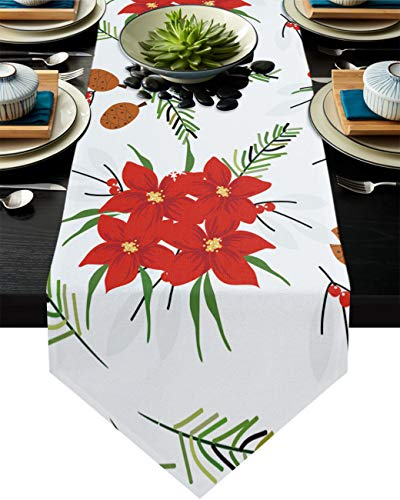 Christmas Red Flowers and Plants Table Runner Dresser Scarves, Poinsettia and Pine Branches Kitchen Linen Burlap Table Runners for Home Dining, Holiday Parties, Wedding, Banquet Decor 13x120inch