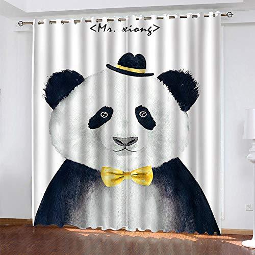 Panda Gigante Cortina Opaca con Ojales 2 Piezas Cortinas Térmicas Aislantes Moderna Decoración Ventanas para Dormotorio Habitacion Sala Salon 75 × 166 CM × 2 Paneles