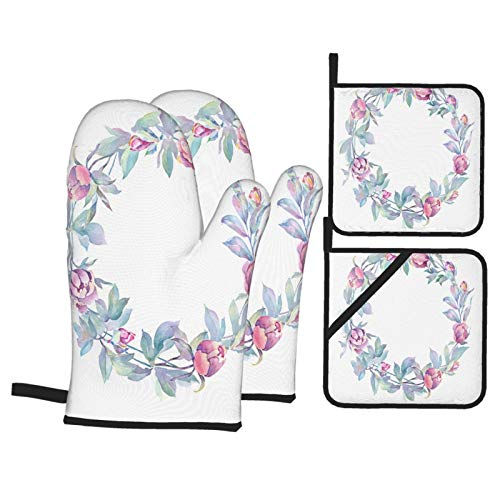 Oven Mitts and Pot holders 4pcs Set,Watercolor Floral Illustration Wreath Peonies Leaves Heat Resistant Cooking Gloves for Kitchen,Baking,Grilling