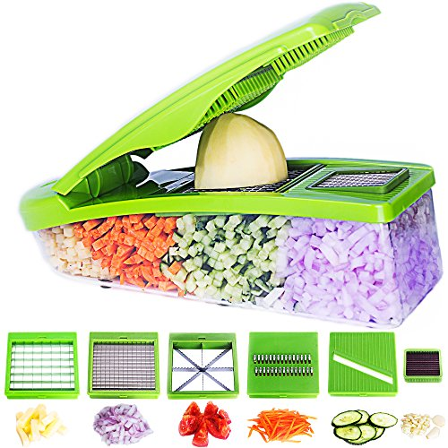 Pro Vegetable Chopper by DOTERNITY - Potato Slicer - Vegetable Grater - Cutter for Cucumber, Onion, Cheese with 6 Stainless Steel Blades - Mandolin Slicer - Food Container