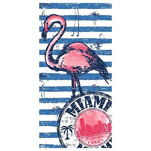lvl25 Toalla Flamenco de Playa y Piscina. Original y Divertida. Tamaño 150 x 75 cm.