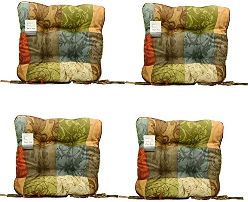 Set Of 4 Red Brown Blue Gold Green Leaf Scroll Kitchen Dining Chair Pad Cushion