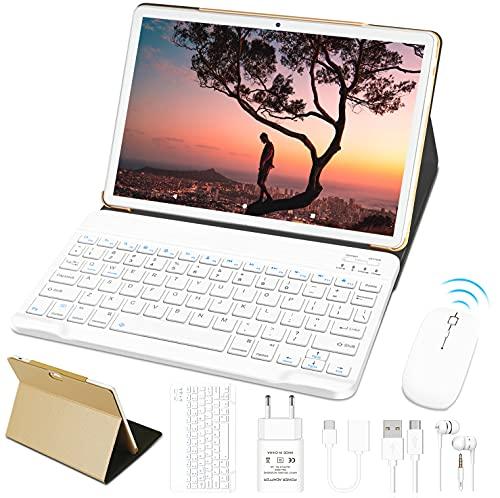 Tablet 10 Pollici 4GB RAM 64GB SSD ROM WiFi + Doppia SIM Lte Android 10 Pro GOODTEL Tablets Doppia Fotocamera | WiFi | IPS | Bluetooth | MicroSD 4-128 GB | con Tastiera Bluetooth e Mouse - Oro Rosa