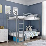 mecor Metal Twin Over Twin Bunk Bed/Convertible Into 2 Individual Bed/Removable Ladder & Safety Guard Rail/for Boys, Girls, Kids, Teens(Silver Grey)