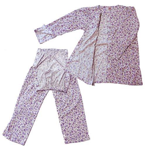 yuaseiharu 介護パジャマ 通年 女性用 マジックテープで半開 ラグラン袖 寝たきり入院 点滴 (L)