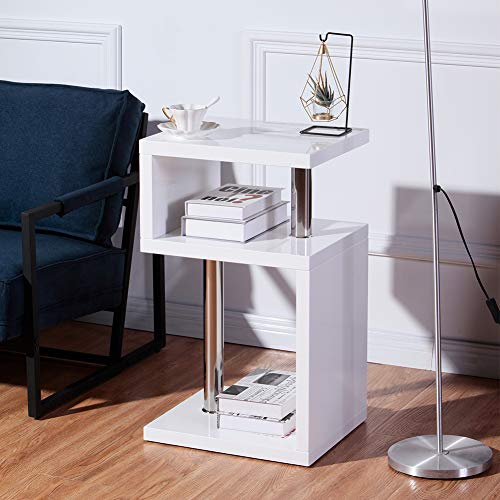 GOLDFAN High Gloss Side Table Small Coffee Table with 2 Tier Storage Shelves S Shape End Table for Living Room,White
