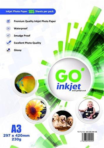 100 vellen A3 230 gsm glanzend fotopapier Plus extra 5 vellen: hoogglanzend wit en waterdicht fotopapier, compatibel met inkjet- en fotoprinters van GO Inkjet