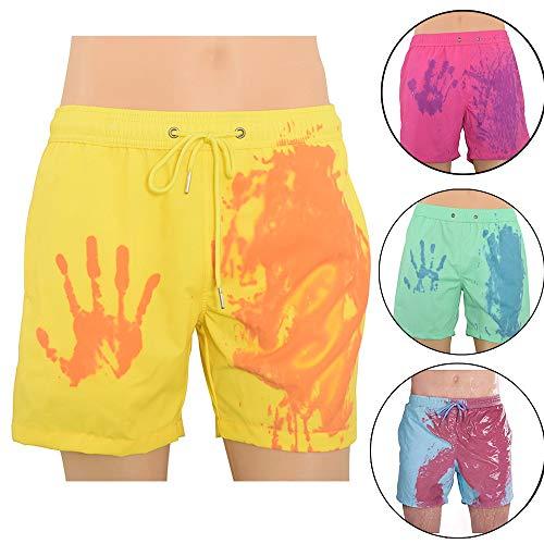 Zomer mannen kleur veranderende zwembroek, temperatuurgevoelige strand zwemshorts, strand surf boardshorts voor vakantie en dagelijks leven (S,Geel)