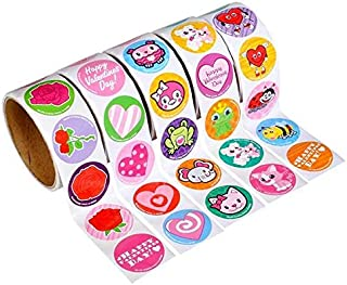 Rhode Island Novelty 5 Rolls ~ Valentine Stickers ~ 100 Stickers Per Roll ~ 500 Stickers Total ~ Approx. 1.5 Inch ~ New / Shnk-Wrapped ~ Hearts, Animals, More