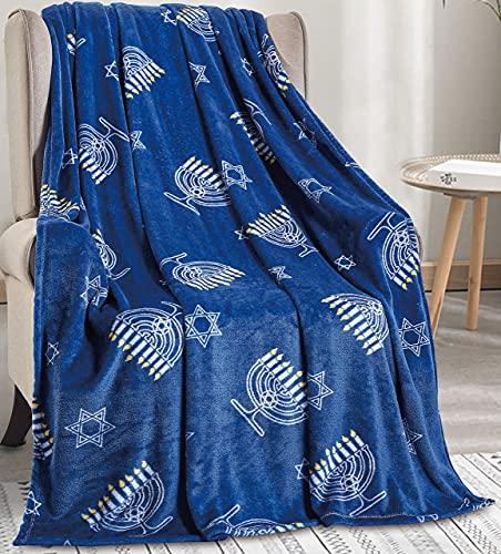 Décor&More Maccabbee Collection Microplush Holiday Throw Blanket (60' x 50') - Hanukkah Menorah