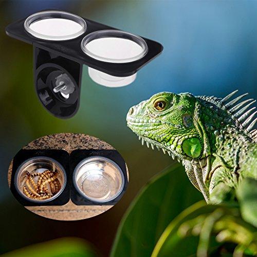 Autone Reptilien-Futternapf für Kleintiere, Doppel-Futternapf, Wasser-Zuchtspender, Kunststoff (Doppelbett, Schraube)