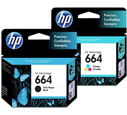 Cartucho de tinta HP 664 combinado (negro TRI-COLOR) Cartucho de tinta original Deskjet – Paquete de 2