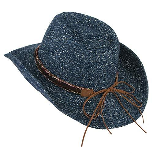 Sonnenhüte Für Männer Frauen Strandhüte Dome Cowboy Panamahut Hochzeitshut Fedora Hut UV-Schutz Einstellbare Sommer Faltbare Breiter Krempe Cap Hut (Marine)