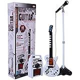 DSXX Guitarra para Niños con Microfono, Conjunto de Guitarra Electrónica Infrarroja de 6 Cuerdas con Micrófono de Pie y Altavoz, Juguete Musical de Karaoke, Niños - Blanco + Negro