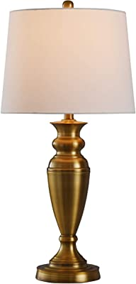 Lite Source LS-21315 Broderick Table Lamp Antique Brass And Walnut with Tan Fabric Shade