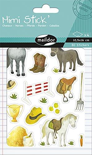 Maildor verpakking met 408 stickers Mini Stick Paarden 80 Stickers gesorteerd