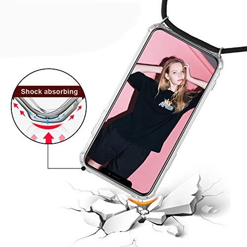 Handykette Kompatibel mit Huawei P8 Lite 2017 Hülle, Smartphone Necklace Schutzhülle, mit Band Stylische Transparent Stoßfest Kratzfest Silikon Handyhülle - Schnur mit Case zum Umhängen in Schwarz - 4