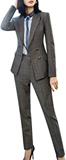 Women's Business Two Piece Plaid Blazer Sets Double Breasted Office Work Blazer Jacket Pantsuits