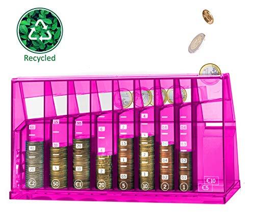 ECB Münzsortierer Euro Spardose | Für Büro und Kinderzimmer | Als Geschenk für Erwachsene und Kinder | Hergestellt aus recyceltem Material | Abschließbar (mit Schlüssel) | Transparent Pink