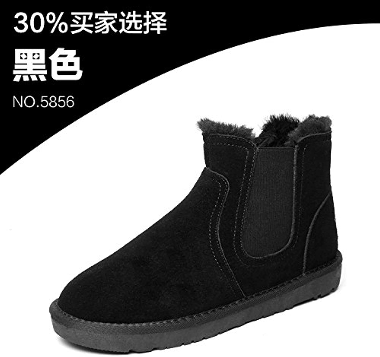Shukun Men's boots Snow Boots Men'S Winter Men'S shoes Warm Cotton shoes Cotton Waterproof Couple Bread shoes Pu Men'S Boots Martin Boots