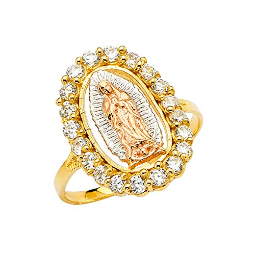 Sonia Jewels 14k Yellow White and Rose Three Color Gold Our Lady of Guadalupe Virgin Mary Cubic Zirconia CZ Ring Size 10.5