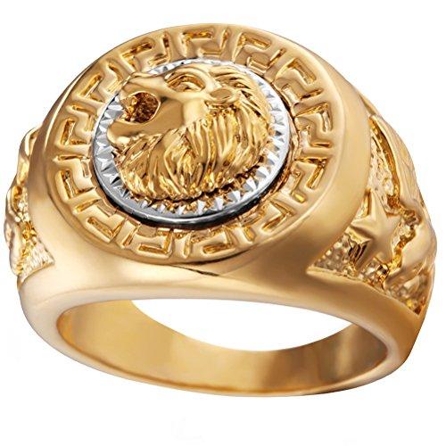 HIJONES Hombre Acero Inoxidable Anillo De Oro De La Cabeza del León del Salto De La Cadera Tamaño 29