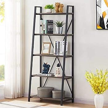 BON AUGURE Industrial Ladder Shelf Rustic 5 Tier Leaning Bookshelf Wood Metal Ladder Bookcase  Dark Gray Oak