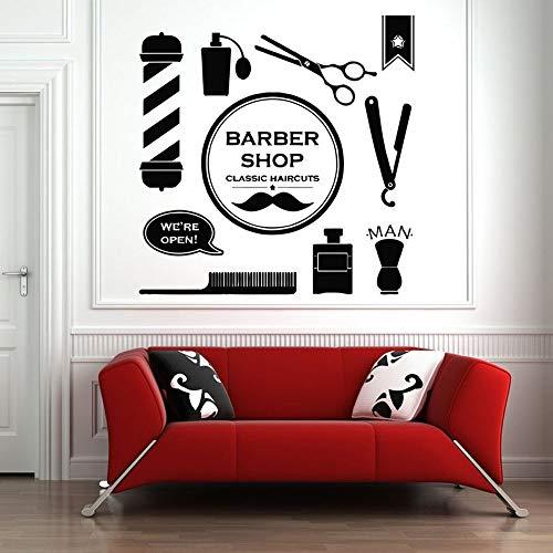 Barbería pared calcomanía herramienta hombres mujer pared ventana decoración arte salón de belleza etiqueta de la pared peluquería patrón