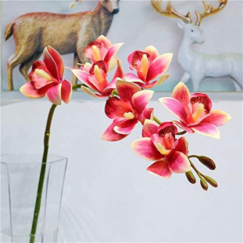 YONGYONGMY Künstliche Blumen 79 cm Künstliche Blume 3D Druck Schmetterling Orchidee Grün Plastik Gefälschte Blume Home Decoration (Color : Dark pink)